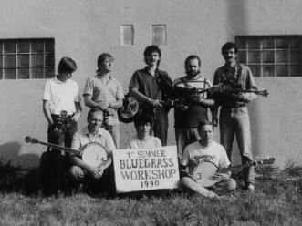 Historically the first bluegrass workshop in Czech Republic, Velké Němčice 1990. L to R: Marek Mikuláš, Petr Třebický, HN, Petr Kůs, Sváťa Matějka, Jarda Žanta, Irena Přibylová, Robert Braun.