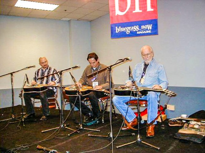 Dobro workshop at IBMA in Louisville KY, L-R: Don Gibson, HN, Mike Auldridge