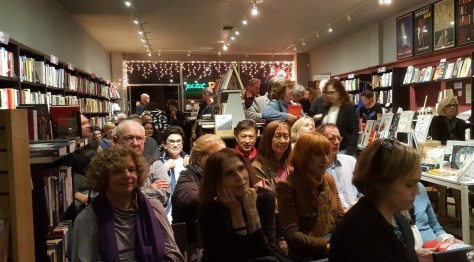 A portion of the tremendous crowd that showed up for the debut of Amerikan Krazy at Chevalier's Books.