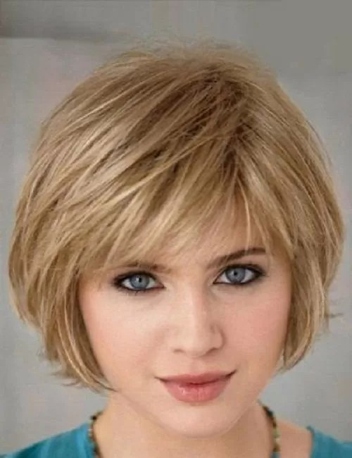 Image result for 20. Thick Layered Bob With Short Side Bang: