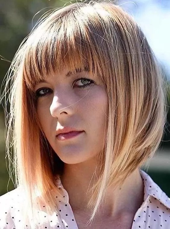 Image result for  A Line Bob With Front Fringes: