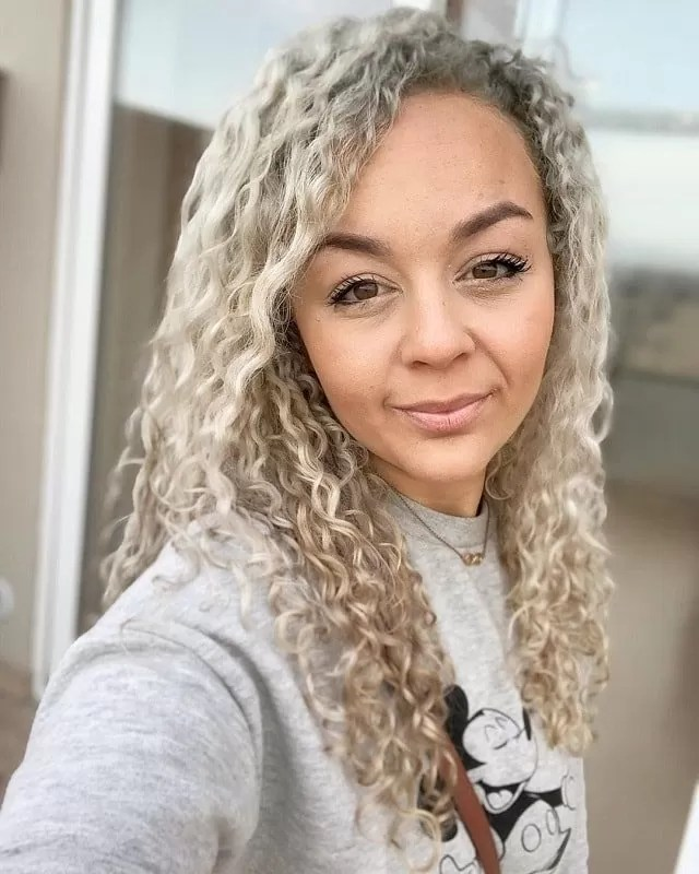 Ash Blonde Curly Hair women