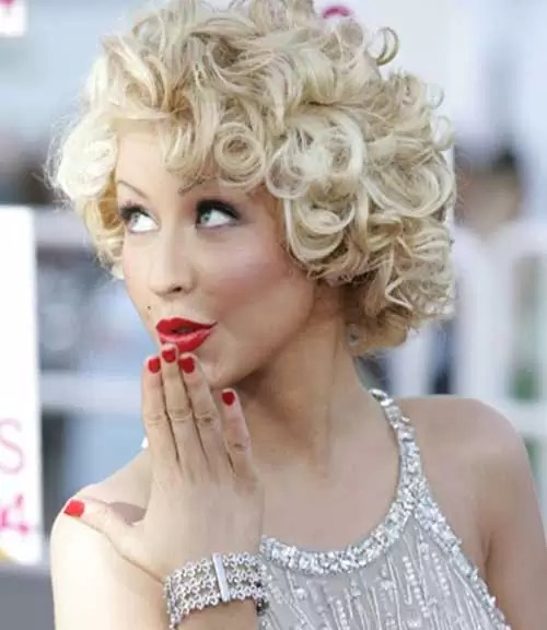 womens short curly with blonde hairstyle