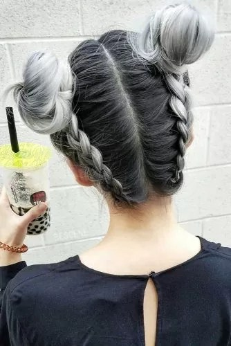 Braided Space Buns #saltandpepperhair #updo #braids #buns