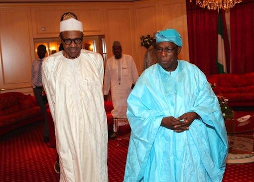 Buhari and obasanjo in his home
