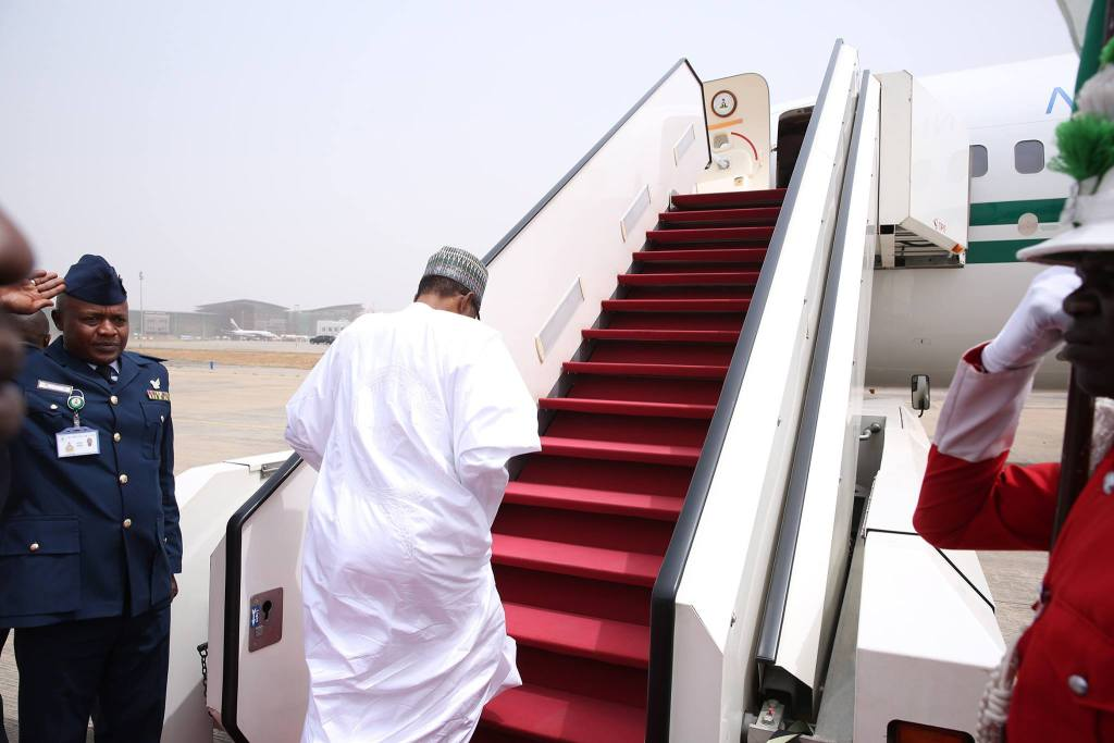 President Muhammadu Buhari leaving for an official visit to Saudi Arabia and Qatar from Abuja.
