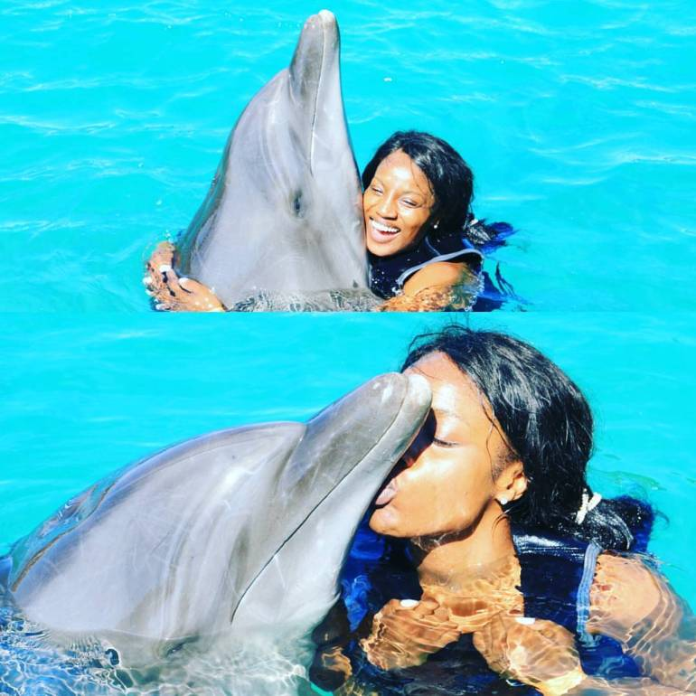 Seyi Shay and the dolphin