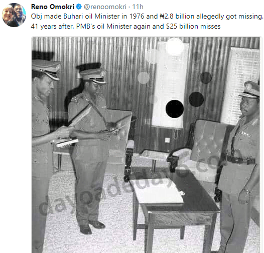 PMB was oil minister in 1976 and ₦2.8bn allegedly got missing; 41 years after, $25b misses again - Reno