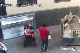 moment cctv records man throwing baby in dumpster