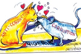cartoon showing corruption as a mouse nestling with anti-corruption as a cat