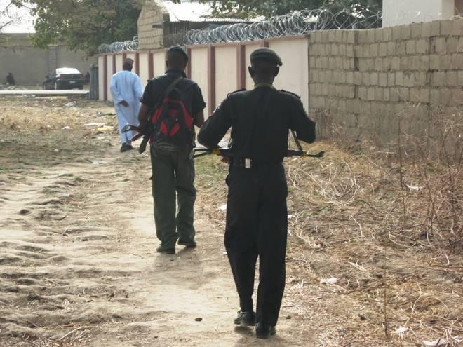 police patrolling the crime scene