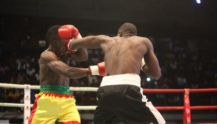 Alex Ekhorowa pummeling opponent in a boxing match