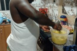 ex soldier prepares food