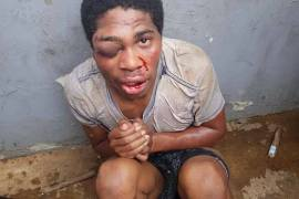 Thief beaten by mob