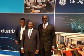 Vice President of Ghana, Dr Mahamudu Bawumia with Chief Information Officer, GE Africa, Sulemana Abubakar