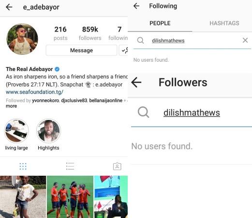 Screenshot of Emmanuel Adebayo in following Dillish on IG