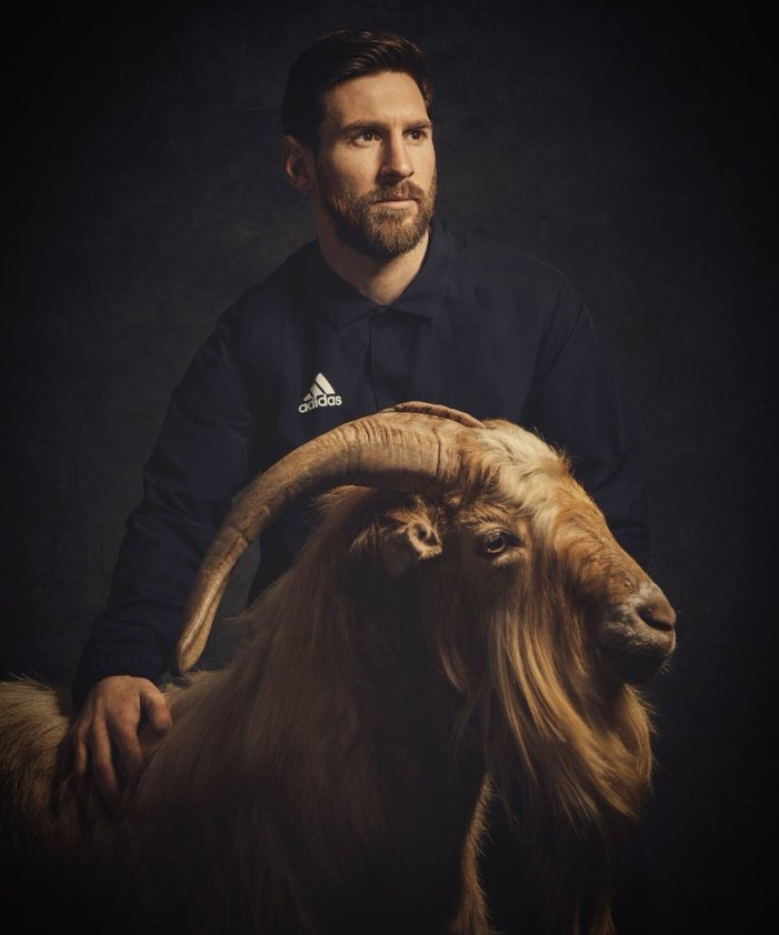 Messi Posing with Goats