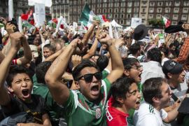 Mexican fans celebrate goal