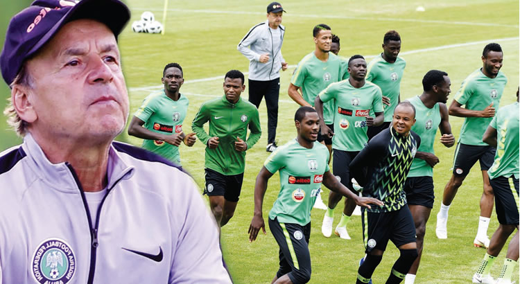 super eagles with their coach