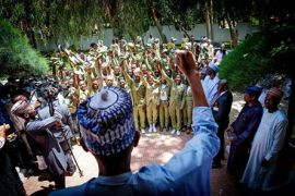 Buhari addressing NYSC members in Daura on Sallah Day