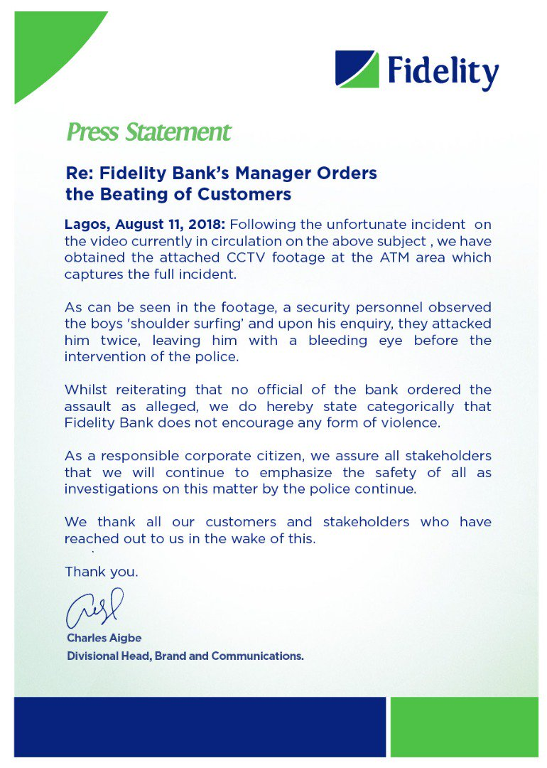 Fidelity response to beating scandal