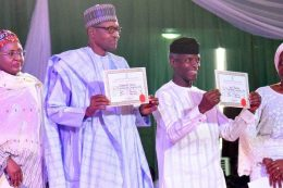 Buhari and Osinbajo present certificate of returns