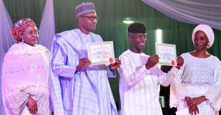 Buhari and Osinbajo present certificate of returns