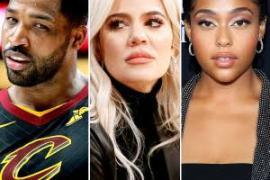 L-R Tristan Thompson, Khloe Kardashian and Jordyn Woods