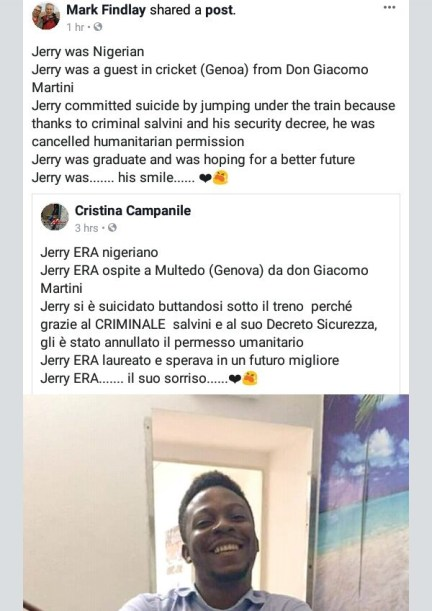 Nigerian man commits suicide over rejected residency permit in Italy