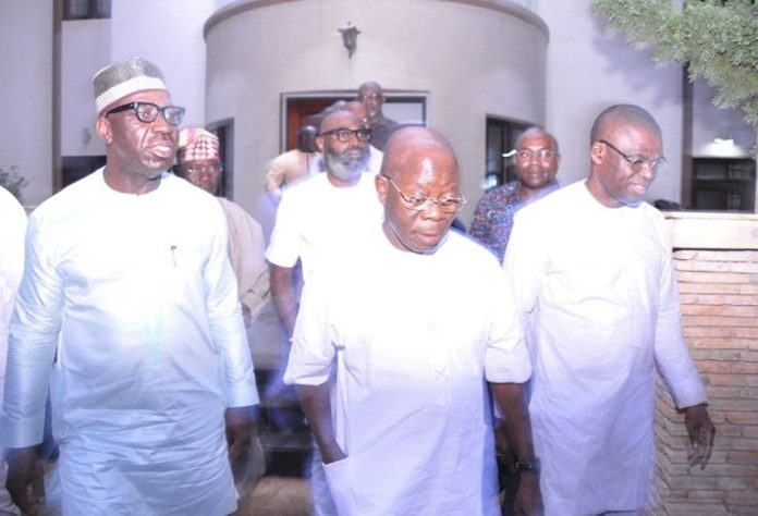 Oshiomhole, Obaseki others at Oyegun's birthday