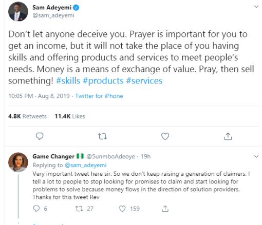 Prayer will never take the place of skills – Pastor Sam Adeyemi