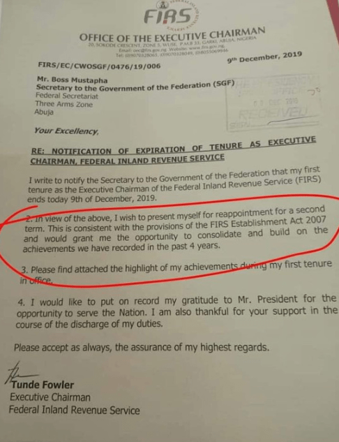 LEAKED MEMO: How Tunde Fowler begged to be retained as FIRS Chairman (Photos)