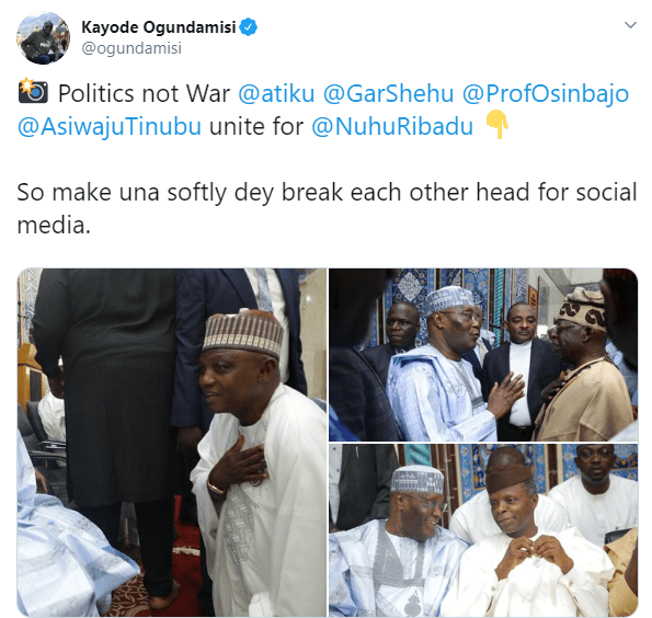 Buhari's Media Aide, Garba Shehu Kneels Before Atiku (Photos)