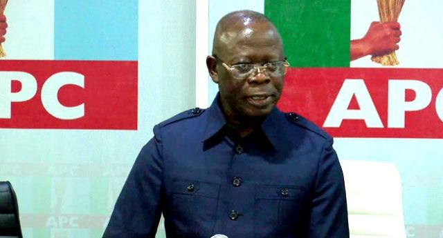 Oshiomhole's pictures, billboards yanked off at APC secretariat _ TheCable