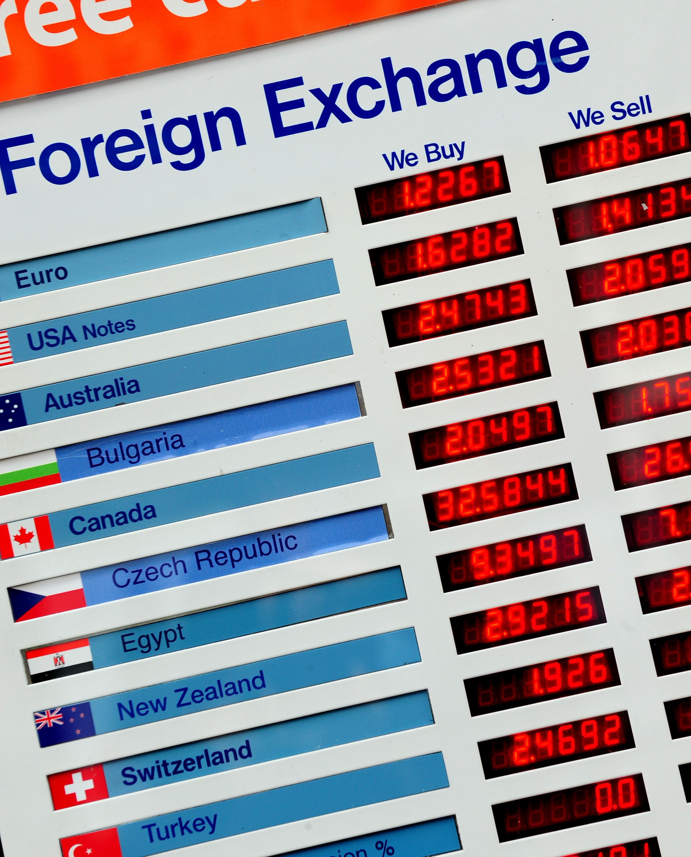 An exchange rate board.