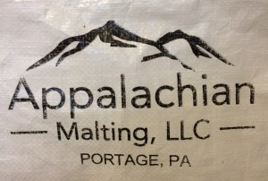 Appalachian Malting log from the side of a grain sack