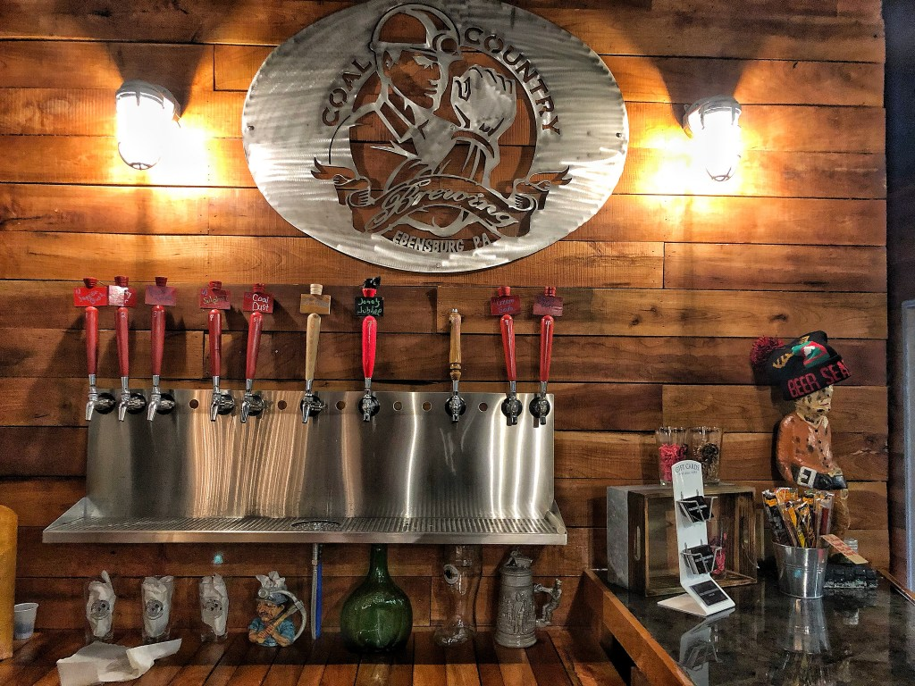 Coal country Brewing taps and sign