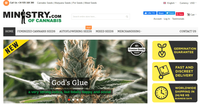 Ministry of Cannabis website front page