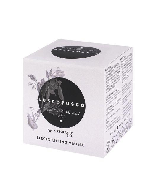 LUSCOFUSCO crema facial anti-edad de HERBOLARIO BIO - Detalles caja LUSCOFUSCO de HERBOLARIO BIO