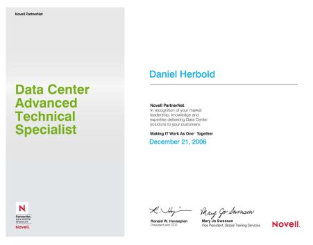 Novell Linux: Data Center Advanced Technical Specialist