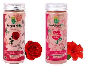 HerbtoniQ 100% Natural Rose Petals Powder (Rosoideae) And Hibiscus Flower Powder (Hibiscus Rosa- Sinensis) For Face Pack And Hair Pack