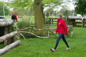 Louise Harwood walking the course at Badminton last year