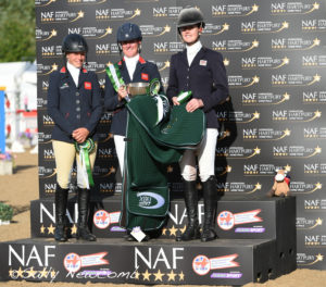 CIC 3* winner Nicola Wilson, centre, flanked by 2nd placed Izzy Taylor (left) and Willa Newton 3rd (rt). Joined of course by Willberry Wonder Pony