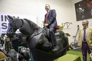Hartpury Principal Russell Marchant riding the horse simulator