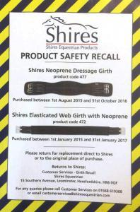 Shires girth recall