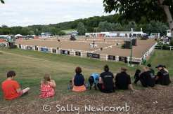 Watching the dressage from the grassy bank at Hartpury