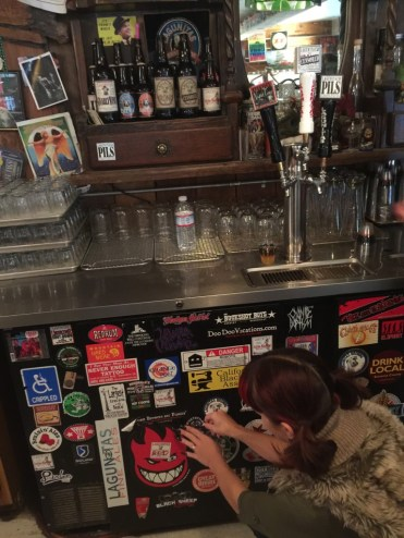 Adding our Whetstone sticker to the Lagunitas Tasting Room!