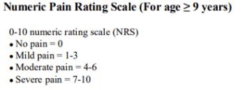 Numeric pain rating