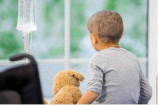 Pediatric cancer patient with dog