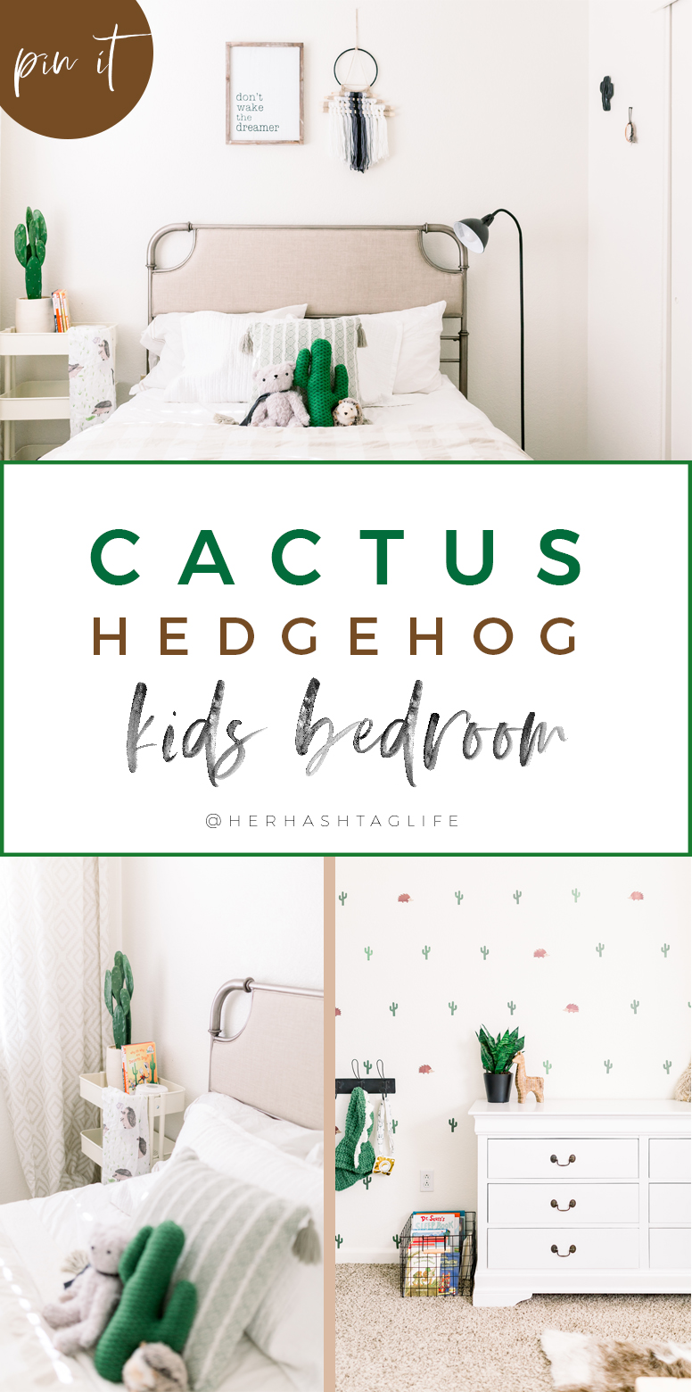 Cactus Hedgehog kids bedroom by Her Hashtag Life